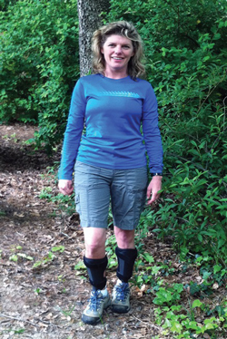 Susan Ruediger, director of development for the Charcot-Marie-Tooth Association, hikes while wearing AFOs for CMT. Photo Susan Ruediger.