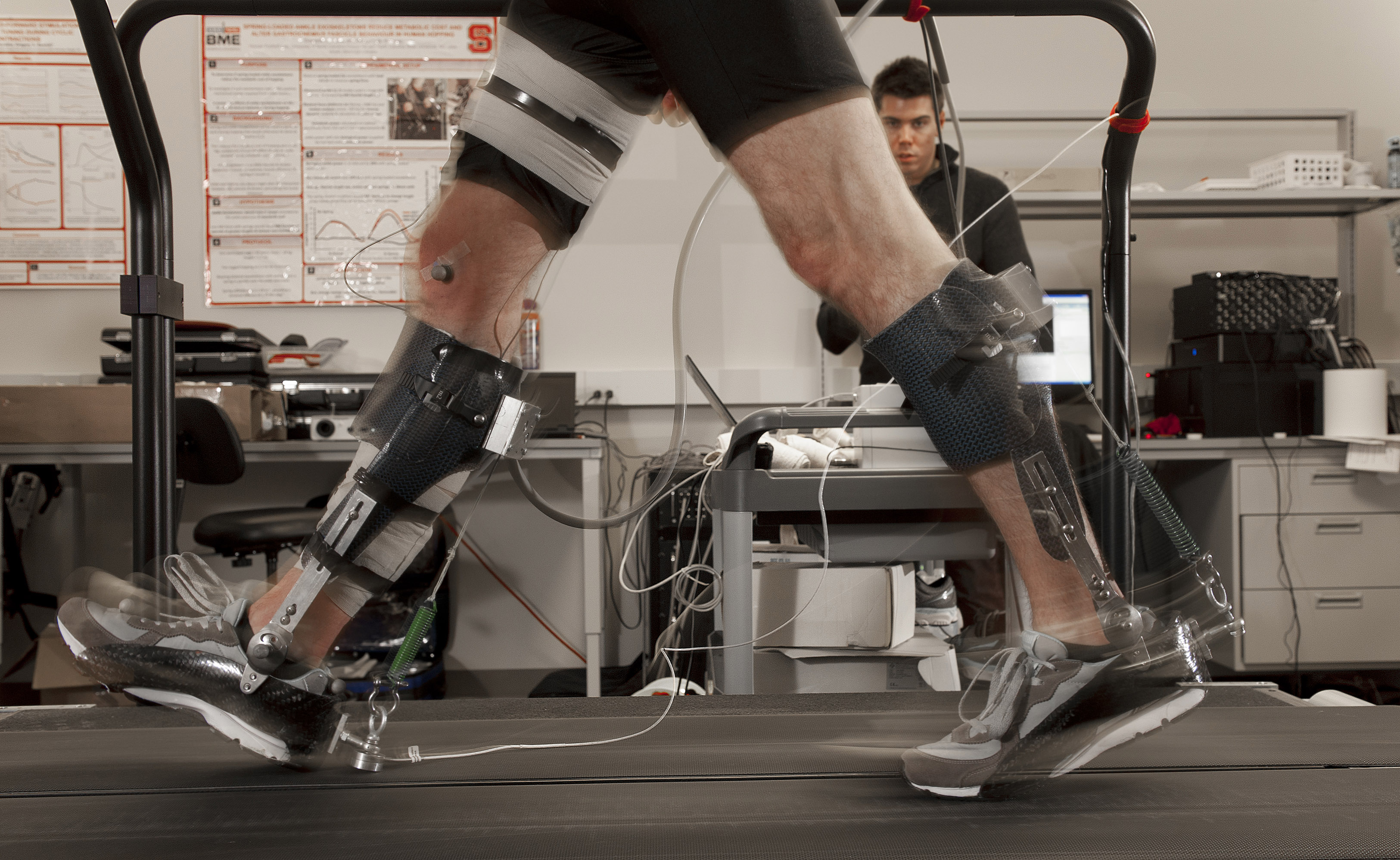 Students work in the GAIT lab in the Rehabilition Engineering department on Centennial Campus. Photo by Marc Hall
