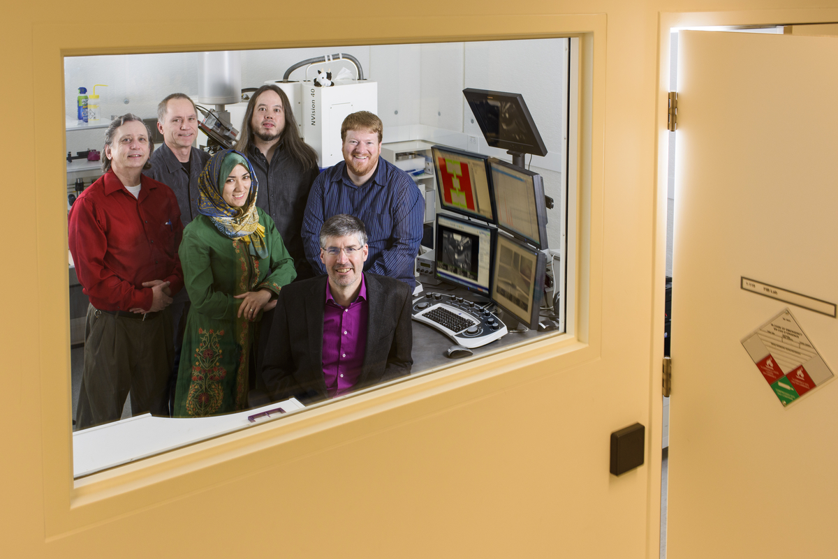Mark Freeman, University of Alberta physics professor and Canada Research Chair in condensed matter physics with his team, researching miniaturizable magnetic resonance, at the National Institute for Nanotechnology, in Edmonton on Thursday, November 5, 2015. ©2015 John Ulan.