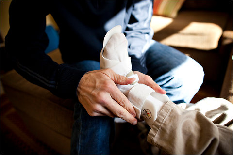 Matthew Downing puts an orthopedic brace on the foot of his son Matthew, 5. Both have Charcot-Marie-Tooth, a progressive neurodegenerative disorder. Michael Nagle for The New York Times . Listen to all the voices of CMT