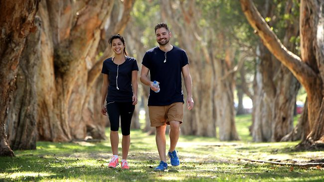 Vanessa Trufunovic and Ed Loveday exercising in Centennial Park in Sydney. Sam Ruttyn photo, The Sunday Telegraph.