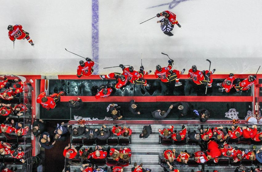 Apr 25, 2015. Calgary Flames players jump on the ice to celebrate their win over Vancouver Canucks in game six of the first round of the 2015 Stanley Cup Playoffs at Scotiabank Saddledome. Calgary Flames won 7-4. Mandatory Credit: Sergei Belski-USA TODAY Sports