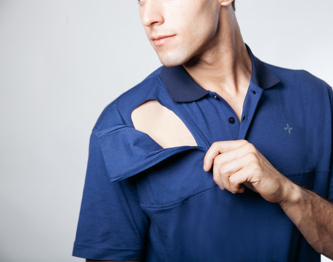 A shirt designed for use for people with medical ports made by Care and Wear.