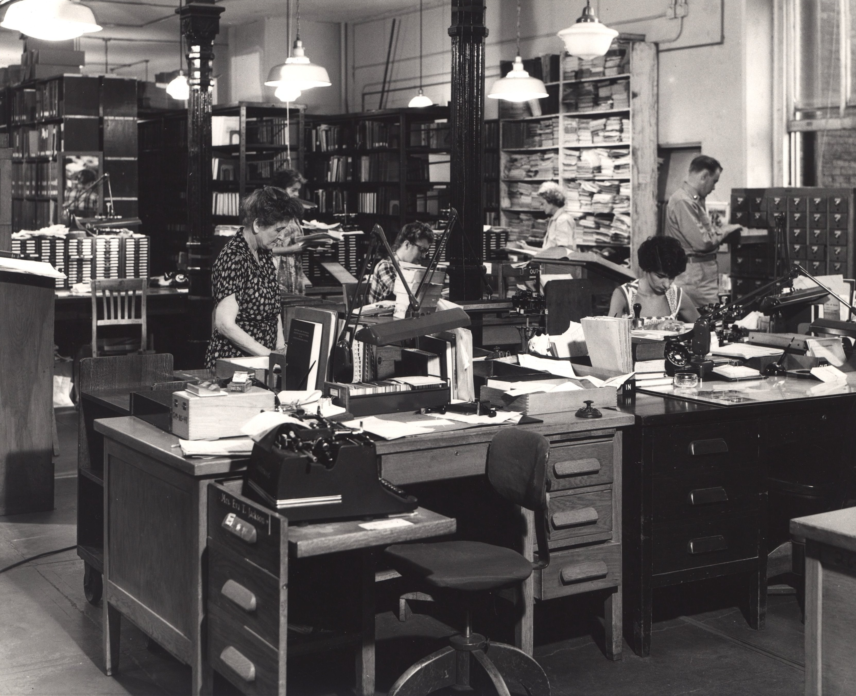 Hidden treasure. View from behind a cataloging desk, Army Medical Library, Washington, DC, ca. 1955. National Library of Medicine. Images from the History of Medicine