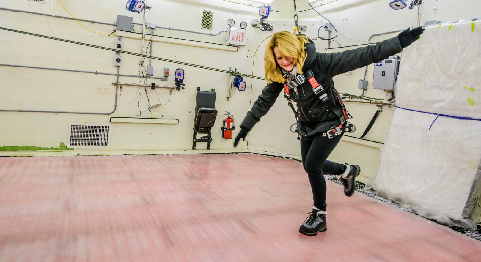 Boot testers walked on level ice, then on an icy surface with an incline to test the performance of winter boots. Toronto Rehabilitation Institute